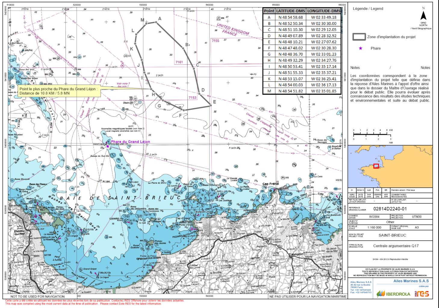 Carte projet énergies marines renouvelables éolien en baie de saint-brieuc